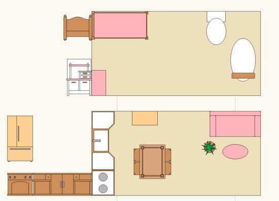 家具の配置図兼展開図。
